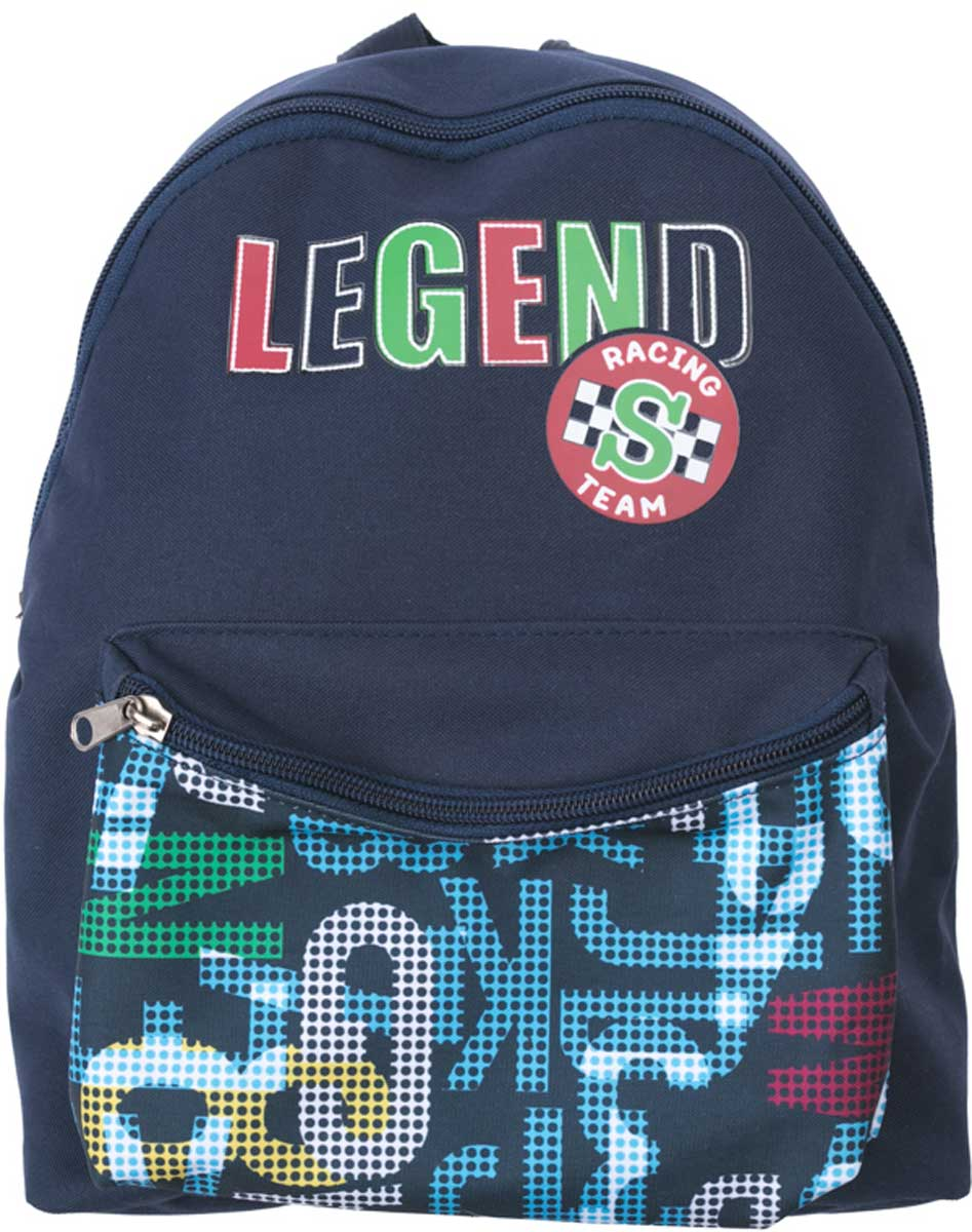 Рюкзак для мальчика PlayToday, цвет: темно-синий. 171752721705R669Удобный рюкзак с забавным принтом выполнен из полиэстера с водоотталкивающей пропиткой. Спереди объемный карман на молнии. Внутри дополнительный вкладной мешок, в который можно класть обувь. Плечевые ремни регулируются по длине. Модель продается с мягким пеналом.