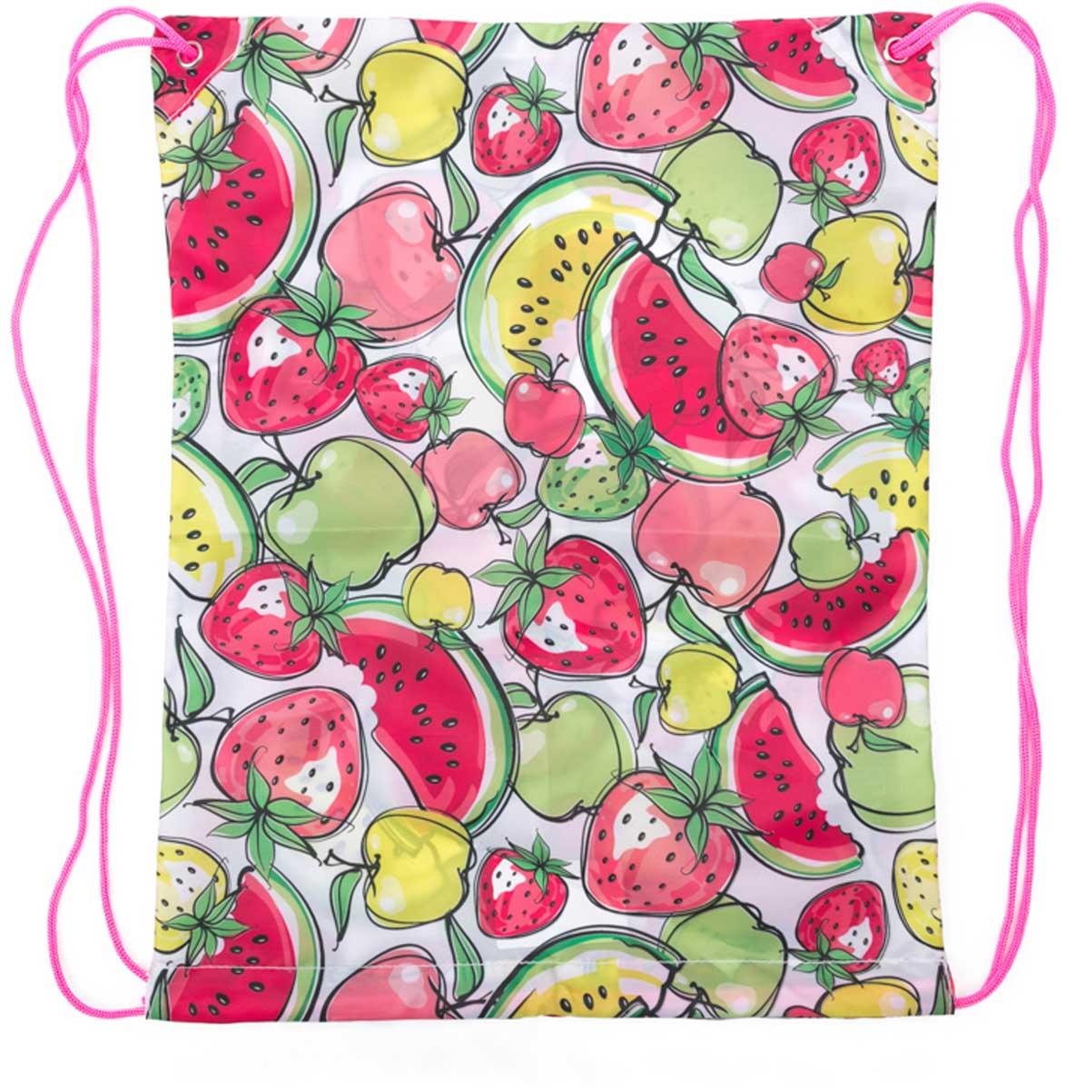 Рюкзак для девочки PlayToday, цвет: розовый, зеленый, белый. 172706S76245Стильный рюкзак для девочки выполнен из полиэстера и украшен оригинальным принтом. Верх утягивается шнурком. Рюкзак оснащен тонкими плечевыми лямками.