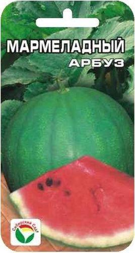Семена Сибирский сад Арбуз. Мармеладный, 7 шт9103500790Скороспелый сорт алтайской селекции для открытого грунта. Растение среднеплетистое. Плоды круглые, темно-зеленые с более темными полосами, массой 2-4 кг. Мякоть ярко-красная, мармеладно-плотная, сочная, сладкая. Благодаря скороспелости сорта плоды успевают созревать даже в открытом грунте. Семена сеют в конце мая на глубину 8-10 см либо на рассаду во второй половине апреля. Температура почвы не должна быть ниже +15°С. Всходы появляются на 9-10 день. Рассаду не прищипывают, высадка в грунт по схеме 200x70 см. По мере роста растения формируют в один стебель. Дальнейший уход состоит из умеренного полива и подкормок растений комплексными минеральными удобрениями.Для ускорения процесса всхожести семян, оздоровления растений, улучшения завязываемости плодов рекомендуется пользоваться специально разработанными стимуляторами роста и развития растений.