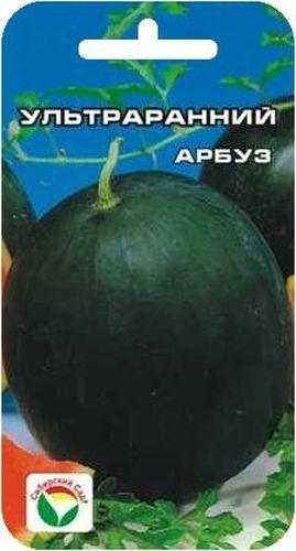 Семена Сибирский сад Арбуз. Ультраранний, 10 шт10039Скороспелый урожайный сорт, устойчивый к пониженным температурам. От всходов до начала плодоношения проходит в среднем 80 дней, созревание быстрое. Растение компактное с ограниченным развитием боковых побегов. Плоды круглые, темно-зеленые, с более темными полосками, массой 4-6 кг. Мякоть ярко-красная, нежная , зернистая, очень сладкая, с малым количеством семян. Особенности агротехники: культура тепло- и светолюбива. Посев на рассаду в 3 декаде апреля, в отдельные горшочки или на постоянное место при прогревании почвы до +12-15°С. Семена, предварительно замоченные на сутки в воде, высевают на глубину 4 см. Всходы появляются на 7-10 день. Высадка в грунт, когда минует угроза возвратных заморозков. Уход заключается в умеренном поливе, рыхлении, подкормках. Схема посадки: 40х50 см.