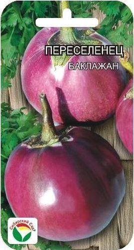 Семена Сибирский сад Баклажан. Переселенец9103500790Среднеранний сорт с крупными до 1кг. Шаровидными плодами. Куст низкорослый до 50см. Плоды фиолетовые, мякоть зеленовато-белая, плотная, малосемянная.