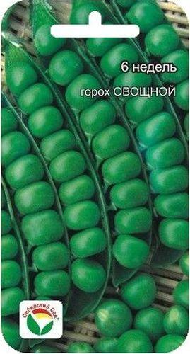 Семена Сибирский сад Горох. 6-недельBH-SI0439-WWУльтраскороспелый лущильный сорт. Растение среднерослое, высотой 45-55см. Бобы длиной 6-8 см, с 6-8 вкусными зелеными горошинами.
