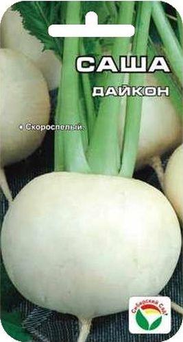 Семена Сибирский сад Дайкон. Саша, 1 гBP-00000262Ультраскороспелый сорт дайкона (японской редьки) с вегетационным периодом на уровне поздних редисов. За 35-40 дней формирует овально-округлые корнеплоды массой 200-400 грамм с белой сочной, хрустящей мякотью, генетически без горечи и остроты. Корнеплоды богаты витаминами, используются в свежем виде. Сорт устойчив к бактериозу и преждевременному стеблеванию. Пригоден для возделывания как в открытом грунте, так и под укрытиями. Листья можно использовать как салатную зелень. За сезон можно вырастить два-три урожая.Посев в открытый грунт с конца июня до середины августа по схеме 50*25см, уборка урожая сентябрь-октябрь.