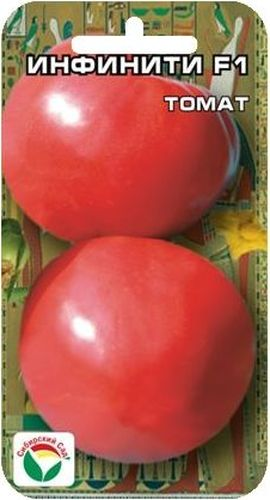 Семена Сибирский сад Томат. Инфинити, 15 шт2182Раннеспелый (95-100 дней), крупноплодный гибрид для пленочных теплиц и открытого грунта. Растение средневетвистое, высотой до 1,7 м, первое соцветие закладывается над 5-7 листом, последующие через 1-2 листа, в кисти по 5-6 плодов. Плоды округлой формы, гладкие, плотные, без зеленого пятна у основания, массой до 300 г. Отличается раннеспелостью и дружным созреванием плодов. Вкусовые качества великолепные. Жаро- и стрессоустойчив, не трескается, транспортабельность плодов очень высокая. Урожайность до 17 кг с 1 м2.Посев на рассаду производят за 50-60 дней до высадки растений на постоянное место. Оптимальная постоянная температура прорастания семян 23-25°С. При высадке в грунт на 1 м2 размещают 3 растения. Гибрид отзывчив на внесение удобрений и технологию возделывания. Выращивается в 1-2 стебля с подвязкой и пасынкованием.