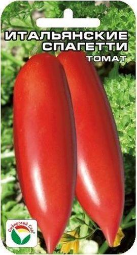 Семена Сибирский сад Томат. Итальянские спагетти, 20 штBP-00000475Интересный среднеранний сорт для защищенного грунта с вытянутыми длинными плодами. Растение индетерминантное, высотой до 2 м, формирует до 6 кистей с малиново-красными сигаровидными плодами длиной до 15 см. Плоды мясистые, плотные, с малым количеством семян, массой 100-150 грамм. Обладают великолепной лежкостью, прекрасно дозариваются, не теряя товарных качеств, очень вкусны в свежем виде, остаются плотными и крепкими в консервации и засоле. Сорт характеризуется стабильно высокой урожайностью до 5 кг с 1 м2.Посев на рассаду производят за 50-60 дней до высадки растений на постоянное место. Оптимальная постоянная температура прорастания семян 23-25°С. При высадке в грунт на 1 м2 размещают 3 растения. Сорт хорошо реагирует на полив и подкормки комплексными минеральными удобрениями. Выращивается в 1-2 стебля с подвязкой и пасынкованием.Для ускорения процесса всхожести семян, оздоровления растений, улучшения завязываемости плодов рекомендуется пользоваться специально разработанными стимуляторами роста и развития растений.