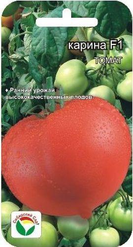 Семена Сибирский сад Томат. Карина, 15 штBH-SI0439-WWРанний высокоурожайный гибрид индетерминантного типа для выращивания в защищенном грунте. Период от всходов до созревания 95-100 дней. Растение среднеоблиственное, высотой 190 -210 см. Первая кисть закладывается над 6-7 листом, последующие через 1-2 листа. В кисти формируется до 6 плодов массой 140-170 г каждый. Томаты округлые, с носиком, ярко- красного цвета. Мякоть плотная, но не жесткая, хорошего вкуса, который определяется сбалансированным содержанием сахаров и кислот. Плоды обладают высокой транспортабельностью, подходят для любых видов переработки. Посев на рассаду производят за 50-60 дней до высадки растений на постоянное место. При высадке в грунт на 1 м2 размещают 3 растения. Гибрид отзывчив на внесение удобрений и технологию возделывания. Выращивается в 1-2 стебля с подвязкой и пасынкованием. Для ускорения процесса всхожести семян, оздоровления растений, улучшения завязываемости плодов рекомендуется пользоваться специально разработанными стимуляторами роста и развития растений.