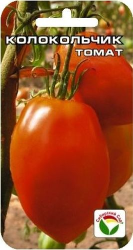 Семена Сибирский сад Томат. Колокольчик F1 в пачке-10503Среднеспелый сорт. Куст высотой до 1,5м. В соцветии завязывается 7-9 плодов. Плоды красные, вытянутой формы, массой 150-200гр, мясистые с малым количеством семян, отличного вкуса
