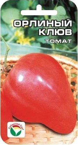 Семена Сибирский сад Томат. Орлиный клюв, 20 штBP-00000205Среднеспелый сорт сибирских селекционеров с крупными плодами весом до 800 г необычной клювовидной формы. Рекомендуется для выращивания в открытом и защищенном грунте. Растение среднерослое, в зависимости от условий выращивания высотой от 1,2 до 1,5 м, требует подвязки и умеренного пасынкования. Плоды малиново-розового цвета, вкусные, формой напоминают мощный изогнутый клюв орла. Мякоть малосеменная и очень плотная, что обеспечивает хорошую лежкость и высокие засолочные качества плодов. По урожайности (до 6-8 кг с растения) данный сорт можно назвать одним из лучших среди крупноплодных томатов. В первой фазе плодоношения плоды особо крупные, весом до 800 г, последующие средние, массой 200-400 г. Посев на рассаду проводят за 60-70 дней до высадки на постоянное место. Перед посадкой семена замачивают и высевают на глубину 1 см по схеме 3x1,5 см. Оптимальная постоянная температура прорастания семян 23-25°С. Пикировка производится после появления второго настоящего листа. При высадке в грунт на 1 м2 размещают не более 3-х растений.