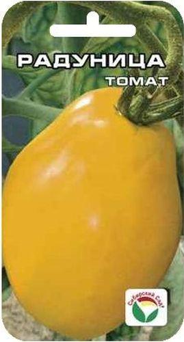Семена Сибирский сад Томат. Радуница, 20 штNN-609-SW-YСреднеспелый сорт с крупными золотисто-оранжевыми плодами в виде сплюснутой груши. Растение среднерослое, высотой до 1,6 м, первое соцветие закладывается над 7-9 листом, последующие - через 3 листа. Соцветие компактное, с 4-5 крупными, тяжелыми плодами солнечного цвета. Масса плодов в основном 200-250 г, некоторые до 350 г. Плоды отличаются повышенным содержанием сухих веществ, сахаров. Рекомендуются для питания людей, имеющих пищевую аллергию на красные томаты. Рекомендуются для употребления в свежем виде и в домашней кулинарии. Урожайность сорта - до 3,5 кг с одного растения.Посев на рассаду проводят за 50-60 дней до высадки на постоянное место. Перед посадкой семена замачивают и высевают на глубину 1 см по схеме 3x1,5 см. Оптимальная постоянная температура прорастания семян 23-25°С. Пикировка производится после появления второго настоящего листа. При высадке в грунт на 1 м2 размещают 3-4 растения. Выращивают в 1-2 стебля с подвязкой и пасынкованием. Сорт хорошо реагирует на полив и подкормки комплексными минеральными удобрениями.Для ускорения процесса всхожести семян, оздоровления растений, улучшения завязываемости плодов рекомендуется пользоваться специально разработанными стимуляторами роста и развития растений.