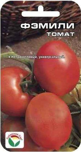 Семена Сибирский сад Томат. Фэмили, 20 штRC-100BPCНеприхотливый низкорослый среднеспелый сорт для открытого грунта алтайской селекции. Растение полуштамбовое, высотой до 48 см. Может выращиваться без пасынкования. Плоды удлиненные с носиком, ровные, гладкие, плотные, массой до 120 г. Окраска незрелых плодов зеленая с темно-зеленым пятном, зрелых - ярко-красная. Созревшие плоды обладают насыщенным ярким вкусом и ароматом, пригодны для свежего потребления, консервирования. Сорт хорошо приспособлен к неблагоприятным погодным условиям, высокоурожаен.Посев на рассаду производят за 50-60 дней до высадки растений на постоянное место. Оптимальная постоянная температура прорастания семян 23-25°С. При высадке в грунт на 1 м2 размещают 3-4 растения. Сорт хорошо реагирует на полив и подкормки комплексными минеральными удобрениями.