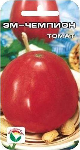 Семена Сибирский сад Томат. Эм-чемпион, 20 штCLP446Популярный крупноплодный сорт сибирской селекции для открытого грунта, отличающийся очень высокой урожайностью. Сорт среднеспелый, куст детерминантный, низкорослый, высотой 50-55 см, требует небольшого пасынкования. Плоды сердцевидной формы, очень крупные до 700 г, плотные и мясистые, красно-розовой окраски, отличаются повышенной сахаристостью. Урожайность в открытом грунте - до 7 кг с куста.