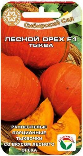 Семена Сибирский сад Тыква. Лесной орех, 5 шт13Раннеспелый гибрид с красивыми компактными оранжево-красными плодами массой 1-1,5 кг и плотной оранжевой мякотью орехового вкуса. Созревает за 95 дней от высадки рассады в грунт. Растение плетистое, в длину достигает 5 метров. Плоды ярко-оранжевые, массой 1,5-3 кг, с плотной крахмалистой мякотью оригинального вкуса. Вкусны в любом виде - в соках, кашах, пюре, детском питании. Выращивают прямым посевом в грунт либо рассадным способом через 25-30-дневную рассаду. Высадка в грунт семенами не ранее 15-20 мая. Лунку с семенами обязательно накрывают пленкой. В первой декаде июля пленку можно убрать и продолжить выращивать тыкву в открытом грунте. На рассаду семена высевают в горшочки в конце апреля. В возрасте 25-30 дней рассаду можно пересадить на постоянное место роста в уличных условиях на южную сторону в солнечном месте. Требовательна к обильному поливу в период формирования завязи. Нуждается в плодородной легкой почве. Хорошо отзывается на внесение органических удобрений.