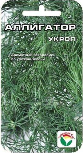 Семена Сибирский сад Укроп. Аллигатор, 1 гBH-SI0439-WWОтличный среднеспелый сорт кустового типа для выращивания на зелень. Долго не выбрасывает зонтик, обеспечивая возможность многократной срезки зелени. Розетка крупная, приподнятая, устойчива к полеганию при поливе. Листва высокого качества, сочная. Растения высотой до 40 см, при цветении до 160 см. Зеленая масса одного растения составляет в среднем 30-60 г, при хорошей агротехнике - до 150 г. Урожайность 1,5-2 кг/м2.Семена высевают рядками, на глубину 0,5 см, в несколько сроков за сезон с интервалом 20-25 дней. Посевы прореживают, регулярно поливают, вовремя проводят срезку зеленой массы.