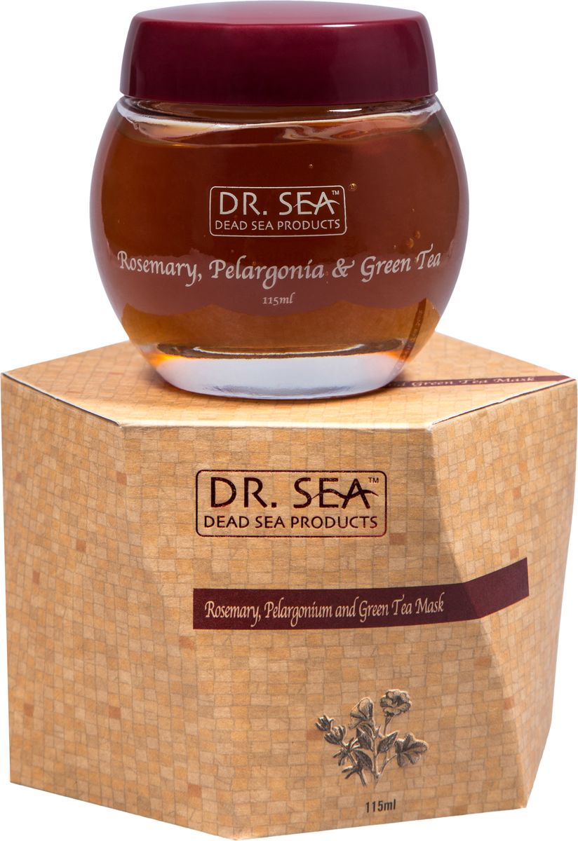 Dr. Sea Маска для лица Розмарин, пеларгония и зеленый чай, 115 мл72523WDАнтиоксидантный уход, успокаивающее действие, сужение пор. Экстракты розмарина и зеленого чая обладают успокаивающим действием, защищают кожу от свободных радикалов. Полифенолы зеленого чая оказывают противовоспалительное и антибактериальное действие, снабжают клетки кислородом, усиливают защитные свойства кожи. Дубильные вещества зеленого чая создают на коже защитную пленку, оказывающую бактерицидное действие. Экстракт зеленого чая уменьшает отечность, укрепляет стенки сосудов.Масло пеларгонии (герани) усиливает микроциркуляцию и способствует обновлению клеток кожи, является прекрасным успокаивающим средством для раздраженной чувствительной и поврежденной кожи. Также, обладая увлажняющим и смягчающим действием, благотворно влияет на сухую, огрубевшую, и шелушащуюся кожу лица. Оно помогает существенно восстановить ее упругость и эластичность.Не менее благотворно влияет эфирное масло пеларгонии и на жирную и проблемную кожу, т.к. способствует уменьшению производства кожного сала, нормализует работу потовых желез кожи лица, устраняет воспалительные процессы кожи, и тем самым помогает избавиться от прыщей и угревой сыпи.Подходит для всех типов кожи.