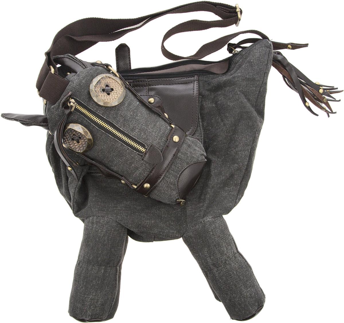 Сумка дизайнерская YusliQ Пони, цвет: темно-серый, коричневый, 41 х 47 см. SP-02EQW-M710DB-1A1Стильная сумка Пони пригодится тебе в учебе, в путешествии, и в повседневном использовании. Просторное основное отделение закрывается на молнию. Ремешок позволяет носить сумку как на плече, так и через плечо. Материал: холст, кожа, металл.