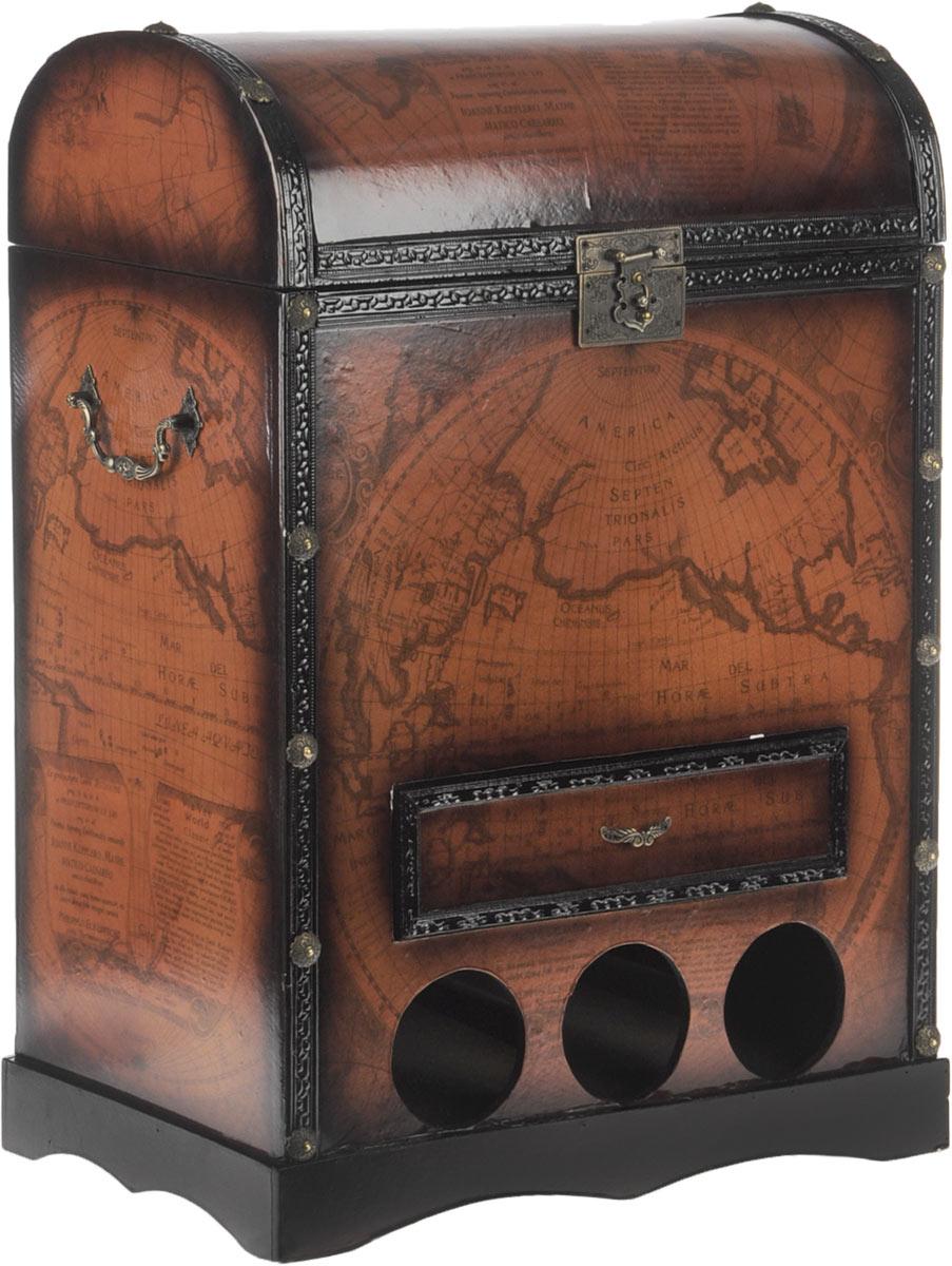 Сундук-бар Roura Decoracion, 44 х 25 х 60 см494841_ розовыйСундук-бар Roura Decoracion - это оригинальный предмет интерьера, предназначенный для хранения алкогольных напитков. Сундук-бар выполнен из МДФ и металла, стилизован под старину, что придает изделию антикварный вид и изысканность. Внутри обит бархатистой тканью. Помимо главного отделения, куда вы можете поставить бутылки, в нижней части сундук оснащен тремя отверстиями, в которых вы сможете разместить бутылки горизонтально. Сундук имеет небольшой выдвижной ящик, в который вы сможете убрать штопор, положить сигары или любые другие предметы.Сундук-бар может стать великолепным подарком для ценителя или коллекционера элитных напитков, благодаря своему неповторимому дизайну и функциональности.Размеры сундука: 44 х 25 х 60 см.Диаметр отверстий для горизонтального размещения бутылок: 8 см.