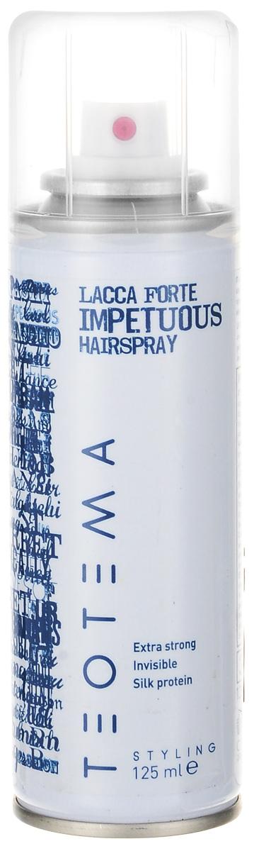 Teotema Лак сильной фиксации 125MP59.4DЛак сильной фиксации предназначен для завершения причёски и создания естественной укладки. Обеспечивает продолжительный эффект и придаёт сияющий блеск, не склеивает волосы.Активные компоненты: провитамин В5: добавляет волосам натуральный блеск, делает их здоровыми, отлично кондиционирует.