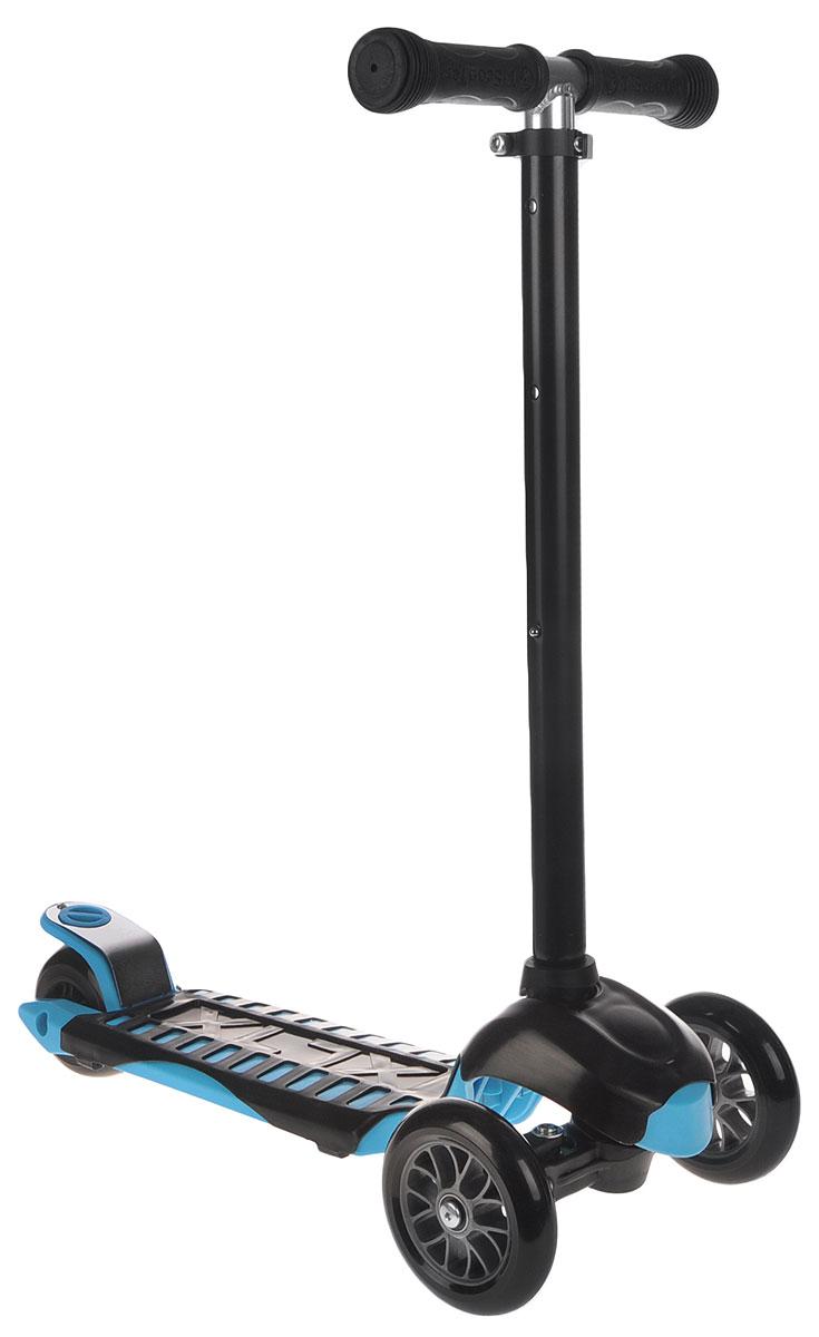 Самокат трехколесный Scooter, цвет: черный, голубой. TLS-302TLS-302Яркий трехколесный самокат Scooter станет отличным подарком юному гонщику!Спереди самокат имеет два колеса для большей устойчивости. Стойка самоката регулируется по высоте. Ручки покрыты мягкими накладками из вспененного полимера, что позволяет избежать мозолей на ладонях. Заднее колесо оснащено тормозом. Полиуретановые колеса обеспечивают хорошее сцепление с дорогой.Катание на самокате - одно из любимых занятий детей. Оно приобретает большую популярность, поскольку не требует специальных навыков. Самокат дает возможность не только замечательно провести досуг, но и обеспечить определенное физическое развитие его владельцу. Порадуйте своего ребенка таким замечательным подарком!Толщина передних колес: 2,5 см.Толщина заднего колеса: 4 см.