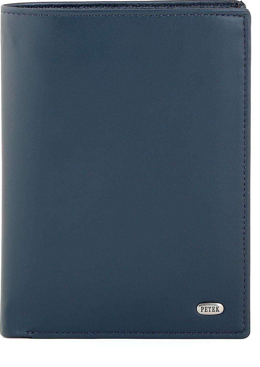 Обложка для автодокументов Petek 1855, цвет: синий. 597.167.88B531-A03-39Обложка для паспорта и автодокументов из натуральной кожи великолепной выделки. Практичная и удобная модель для тех, кто предпочитает все необходимое хранить в одном месте. Внутри обложка имеет специальное отделение для паспорта, вынимающийся блок из прозрачного пластика для автодокументов. Обложка застегивается на кнопку.
