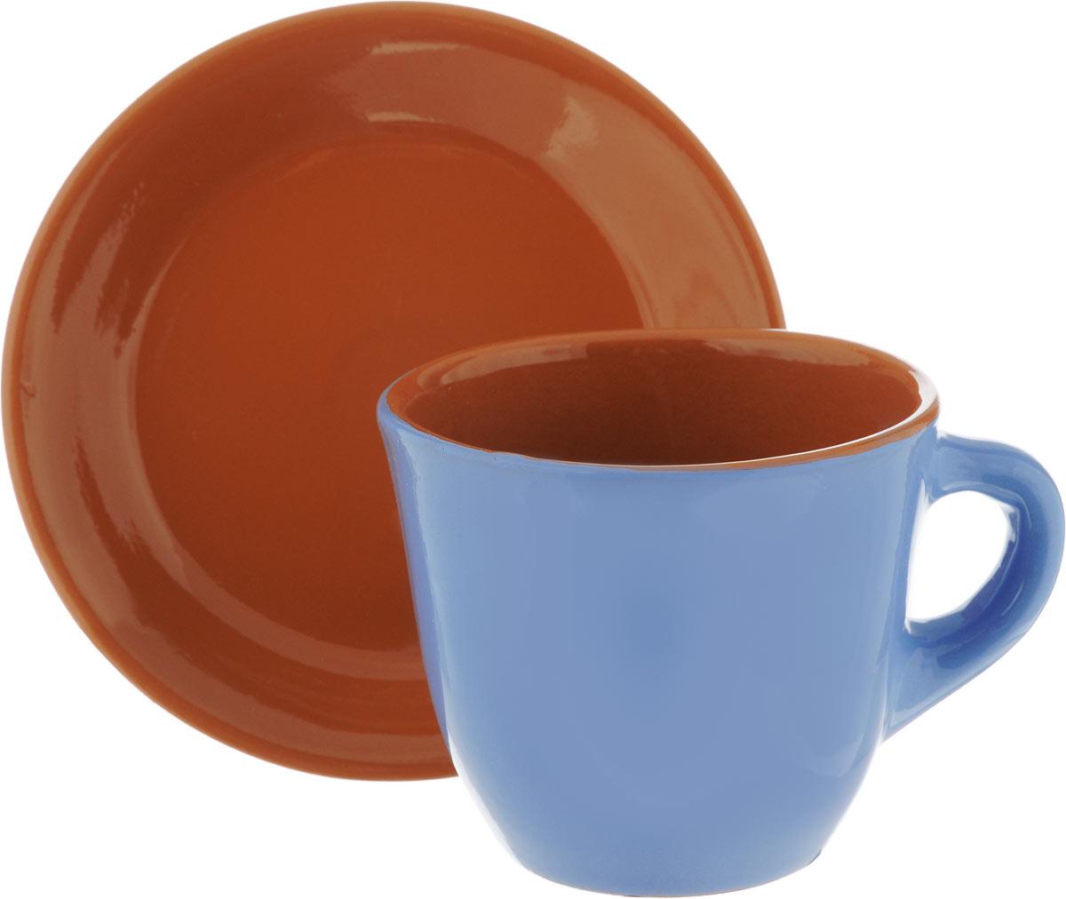 Чайная пара Борисовская керамика Cтандарт, цвет: голубой, коричневый, 2 предмета115610Чайная пара Борисовская керамика Cтандарт состоит из чашки и блюдца, изготовленных из высококачественной керамики. Такой набор украсит ваш кухонный стол, а также станет замечательным подарком к любому празднику.Можно использовать в микроволновой печи и духовке.Диаметр чашки (по верхнему краю): 10 см.Высота чашки: 8,5 см.Диаметр блюдца (по верхнему краю): 15 см.Высота блюдца: 2,5 см.Объем чашки: 300 мл