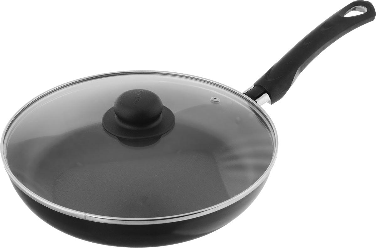 Сковорода Scovo Consul с крышкой, c антипригарным покрытием. Диаметр 26 см. RC-01013501Сковорода Scovo Consul выполнена из алюминия с антипригарным покрытием. Такое покрытие исключает прилипание и пригорание пищи к поверхности посуды, обеспечивает легкость мытья посуды, исключает необходимость использования большого количества масла, что способствует приготовлению здоровой пищи с пониженной калорийностью. Сковорода безопасна для здоровья, так как не содержит PFOA, соединений свинца и кадмия. Изделие оснащено удобной пластиковой ручкой. Крышка, выполненная из термостойкого стекла, позволяет следить за процессом приготовления без потери тепла. Специальное отверстие для выхода пара предотвращает выкипание.Сковорода подходит для газовых, электрических и стеклокерамических плит. Можно мыть в посудомоечной машине. Диаметр сковороды (по верхнему краю): 26 см.Длина ручки: 18,5 см.Высота стенки: 4,5 см.