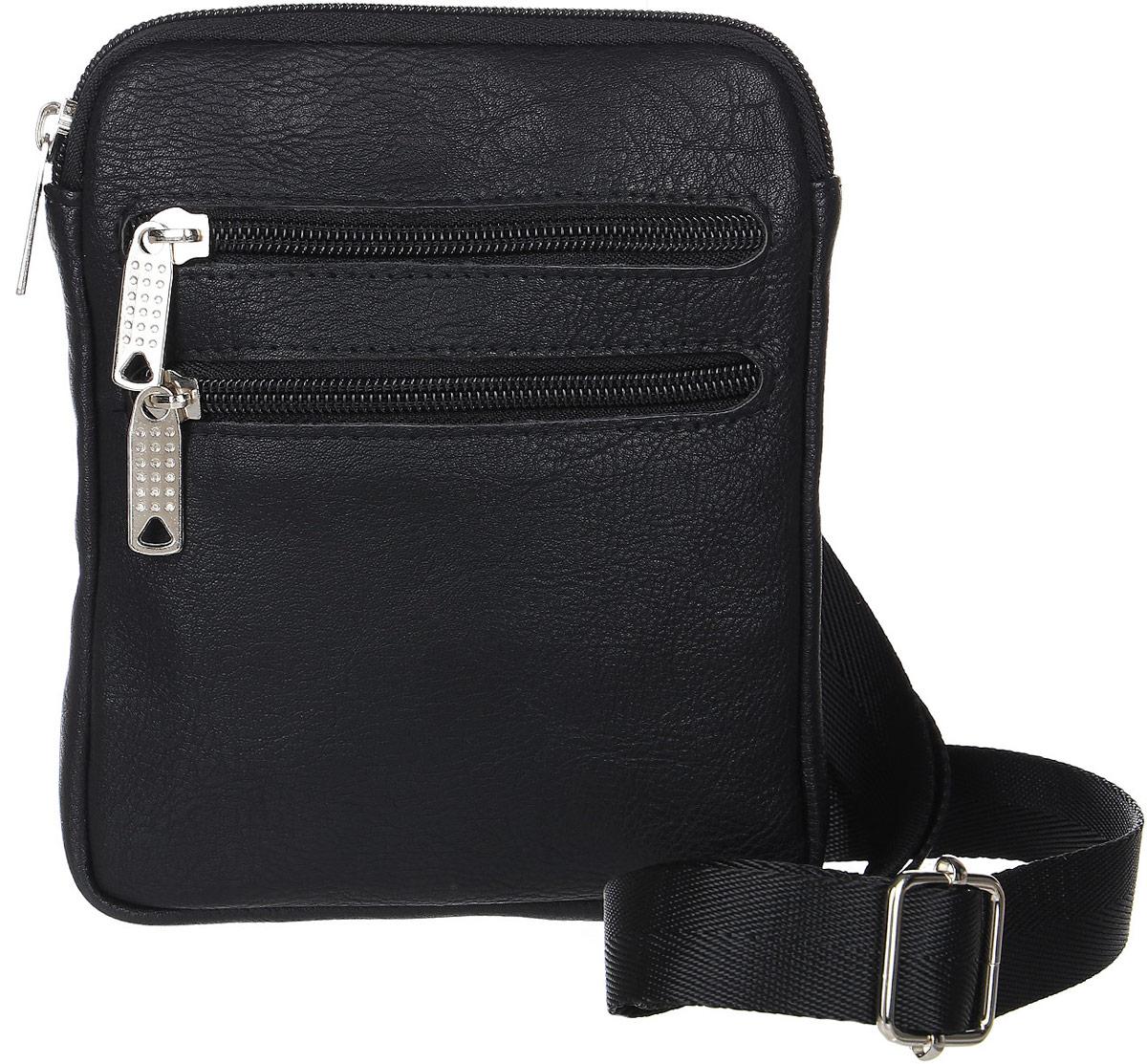 Сумка мужская Аntan, цвет: черный. 46700188612813-47660-00504Стильная мужская сумка Аntan выполнена из искусственной кожи. Сумка имеет одно основное отделение, закрывающееся на застежку-молнию. Внутри модель имеет прорезной карман на застежке-молнии и накладной открытый карман. Задняя и передняя сторона сумки дополнены врезными карманами на молнии. Изделие оснащено плечевым ремнем.