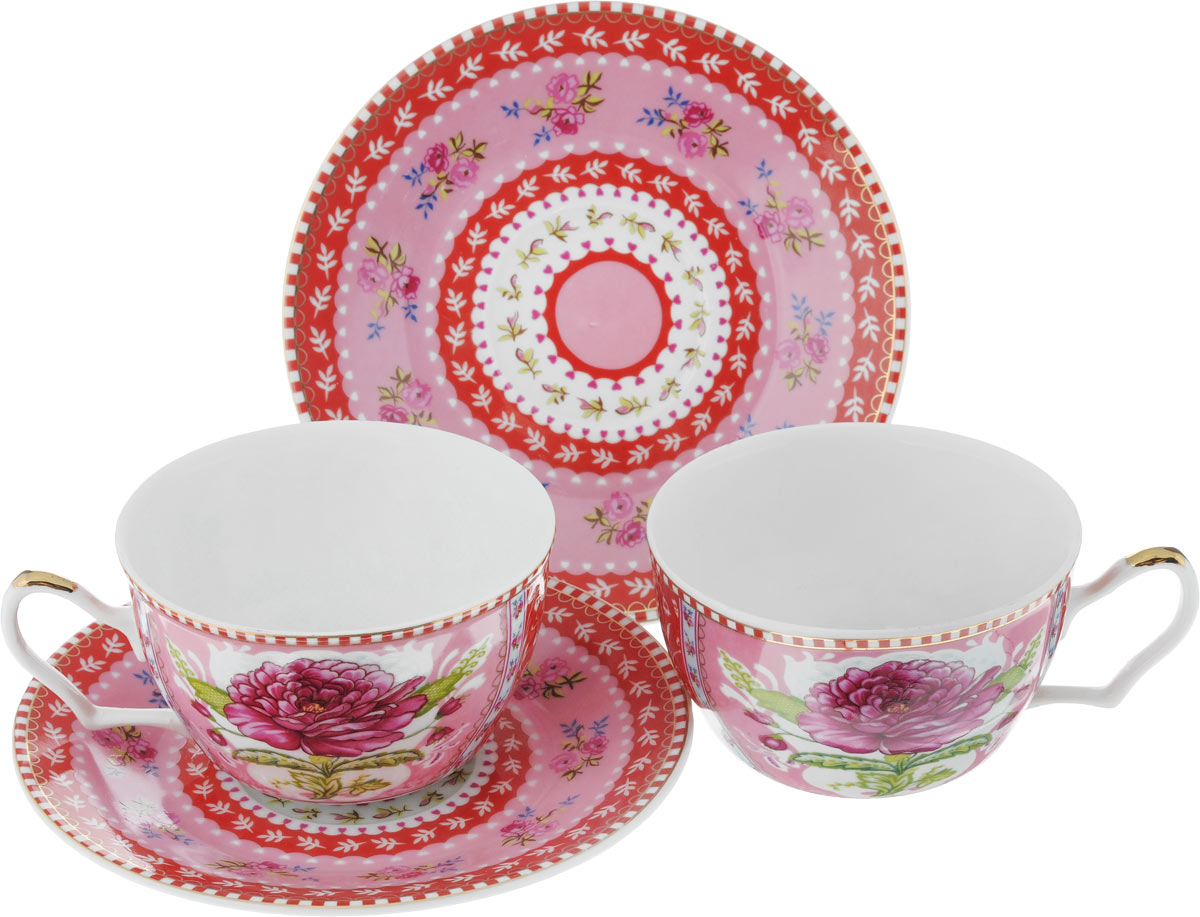 Набор чайный Loraine, цвет: розовый, красный, зеленый, 4 предмета115510Чайный набор Loraine, выполненный из керамики, состоит из 2 чашек и 2 блюдец. Предметы набора оформлены ярким изображением цветов. Изящный дизайн и красочность оформления придутся по вкусу и ценителям классики, и тем, кто предпочитает современный стиль. Чайный набор - идеальный и необходимый подарок для вашего дома и для ваших друзей в праздники, юбилеи и торжества! Он также станет отличным корпоративным подарком и украшением любой кухни. Чайный набор упакован в подарочную коробку из плотного цветного картона. Внутренняя часть коробки задрапирована белым атласом.Диаметр кружки (по верхнему краю): 9,5 см.Высота стенки: 5,9 см.Диаметр блюдца: 15 см.Высота блюдца: 1,7 см.Объем чашки: 250 см.