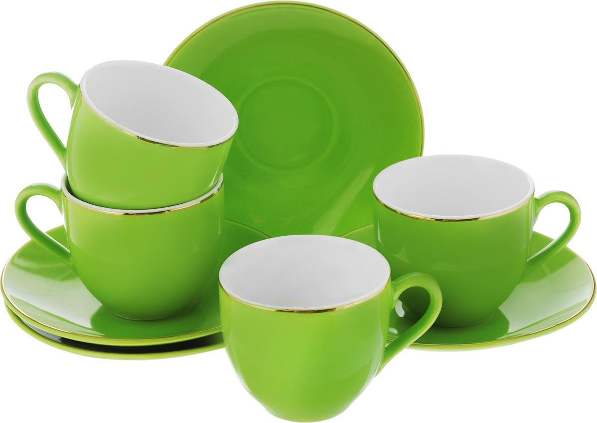 Набор кофейный Loraine, цвет: зеленый, 8 предметовVT-1520(SR)Кофейный набор Loraine состоит из 4 чашек и 4 блюдец. Изделия выполнены из высококачественного фарфора, имеют яркий дизайн и классическую круглую форму. Такой набор прекрасно подойдет как для повседневного использования, так и для праздников. Набор Loraine - это не только яркий и полезный подарок для родных и близких, но и великолепное дизайнерское решение для вашей кухни или столовой. Диаметр чашки (по верхнему краю): 6 см. Высота чашки: 5,5 см. Диаметр блюдца (по верхнему краю): 11 см.Высота блюдца: 1,7 см.Объем чашки: 80 мл.