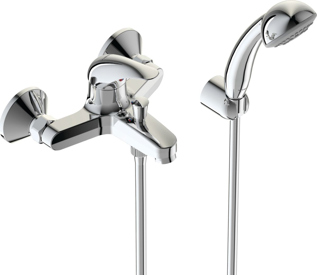 Смеситель для ванны Vidima Орион. BA004AABL505Смеситель для ванны Vidima Орион имеет корпус и излив из 100% латуни. Изделие устанавливается на стену. Система облегченного монтажа SmartFix обеспечивает комфорт во время установки и надежность эксплуатации. Монтаж производится на стандартных эксцентриках (в комплекте: эксцентрики, металлические отражатели, уплотнительные прокладки). Смеситель снабжен литым изливом и аэратором Perlator. Металлическая рукоятка имеет систему защиты от нагревания Comfort Touch и индикатор холодной/горячей воды. Душевой гарнитур в комплекте (душевая лейка, металлический шланг, держатель для лейки). Переключение ванна/душ осуществляется вручную. Возможность использовать функцию душ даже при очень низком давлении воды. Технические характеристики: Расстояние от стены до аэратора: 152 мм. Керамический картридж: 35 мм. Диаметр душевой лейки: 70 мм. Длина металлического шланга: 150 см.