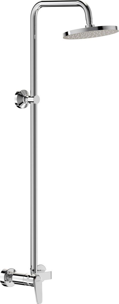 Душевой комплект Vidima Баланс, с однорукоятковым смесителем для душаBA272AAДушевой комплект Vidima Баланс устанавливается на стену. Система облегченного монтажа SmartFix обеспечивает комфорт во время установки и надежность эксплуатации. Монтаж производится на стандартных эксцентриках (в комплекте: эксцентрики, металлические отражатели, уплотнительные прокладки). Смеситель не имеет излива. Металлическая рукоятка с углом поворота на 100° снабжена индикатором холодной/горячей воды. Верхний душ имеет один режим струи Tropical Rain (Тропический дождь). Самоочищающаяся лейка снабжена шаровым соединением, которое позволяет регулировать угол наклона в любую сторону для максимального комфорта при принятии душа. Душ имеет ограничитель потока воды, что позволяет экономить воду при неизменном комфорте пользования. Ручной душ в комплект не входит (нет возможности для подключения ручного душа). Верхнее крепление подвижное по высоте. Можно закрепить изделие в уже существующие отверстия в стене без сверления новых. Имеется возможность удлинения штанги. Комплект для удлинения душевой штанги не входит в комплектацию. Технические характеристики: Смеситель для душа: Керамический картридж: 35 мм. Верхний душ: Диаметр душевой лейки: 202 мм. Ограничитель потока воды: 11 л/мин. Длина душевой штанги: 102 см. Диаметр душевой штанги: 25 мм. Расстояние от нижнего крепления до верхнего душа: 895 мм.
