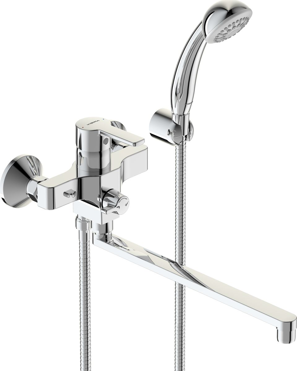 Смеситель для ванны и душа Vidima Видима Уно, керамический переключатель, цвет: хром68/5/4ВидимаУно смеситель для ванны/душа, керамический переключатель, установка на стену, п BA320AA