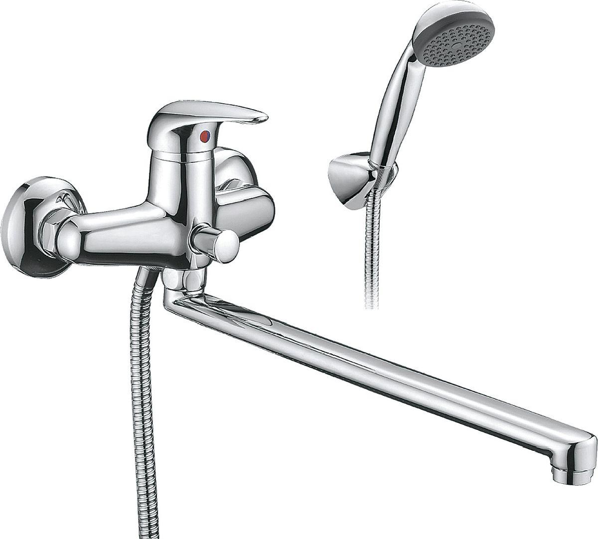 Смеситель для ванны и душа Smartsant Смарт-Реал, излив 350 мм, цвет: хром68/5/3Смарт-Реал смеситель для ванны/душа, излив 350мм, с аксессуарами, хром SM033502AA