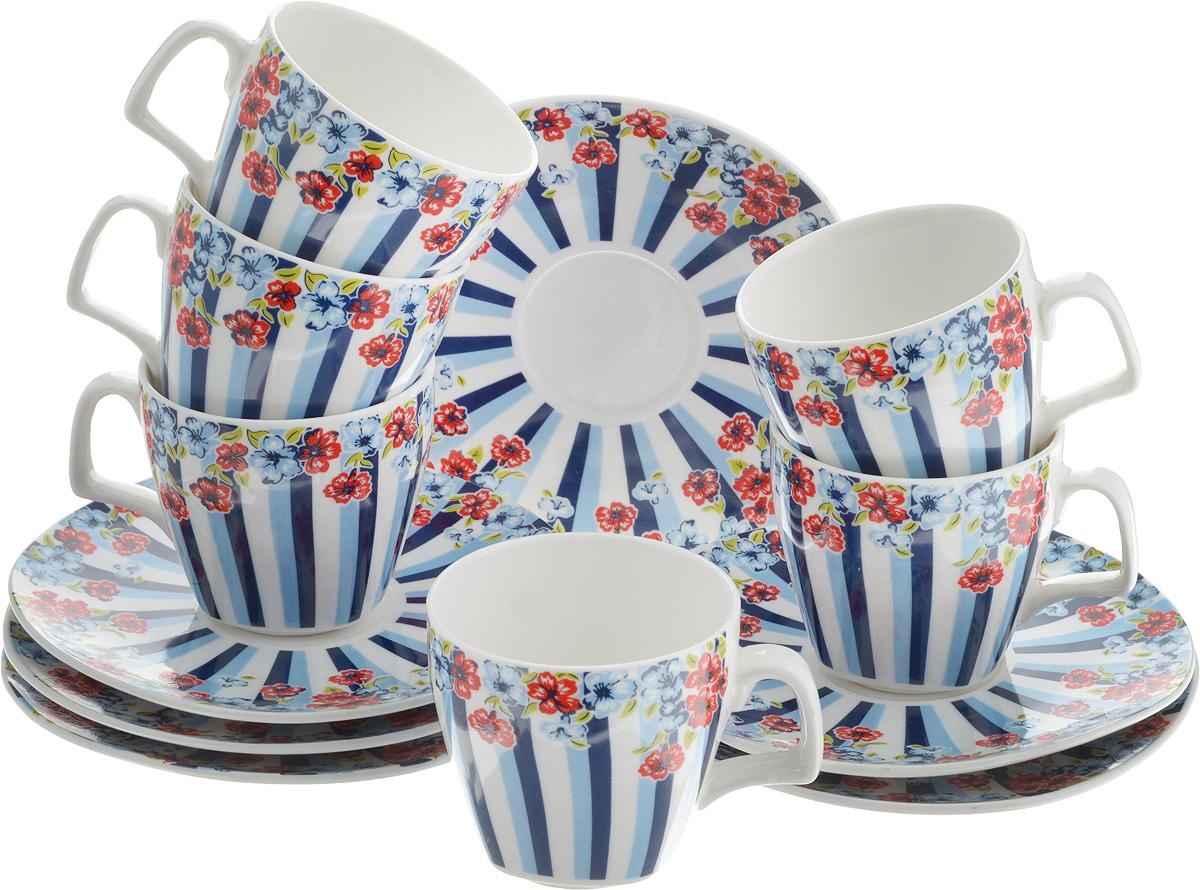 Набор кофейный Loraine Цветок, 12 предметовVT-1520(SR)Кофейный набор Loraine Цветок состоит из 6 чашек и 6 блюдец, выполненных из высококачественного фарфора. Изящный дизайн придется по вкусу и ценителям классики, и тем, кто предпочитает утонченность и изысканность. Он настроит на позитивный лад и подарит хорошее настроение с самого утра. Набор упакован в стильную подарочную коробку. Внутренняя часть коробки задрапирована белой атласной тканью. Каждый предмет надежно зафиксирован внутри коробки, благодаря специальным выемкам. Кофейный набор Loraine Цветок - идеальный и необходимый подарок для вашего дома и для ваших друзей в праздники, юбилеи и торжества! Он также станет отличным корпоративным подарком и украшением любой кухни.Диаметр блюдца: 12 см.Высота блюдца: 1,5 см.Диаметр чашки (по верхнему краю): 6 см.Высота чашки: 6 см.Объем чашки: 80 мл.