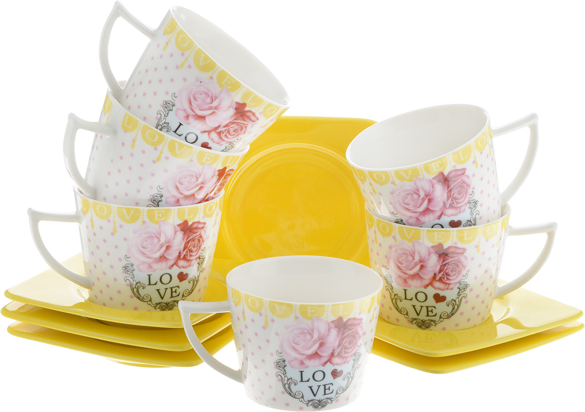 Набор кофейный Loraine Love, 12 предметов. 24719J7842Кофейный набор Loraine Love состоит из 6 чашек и 6 блюдец, выполненных из высококачественной керамики. Изящный дизайн придется по вкусу и ценителям классики, и тем, кто предпочитает утонченность и изысканность. Он настроит на позитивный лад и подарит хорошее настроение с самого утра. Набор упакован в стильную подарочную коробку. Внутренняя часть коробки задрапирована белой атласной тканью. Каждый предмет надежно зафиксирован внутри коробки благодаря специальным выемкам. Кофейный набор Loraine Love - идеальный и необходимый подарок для вашего дома и для ваших друзей в праздники, юбилеи и торжества! Он также станет отличным корпоративным подарком и украшением любой кухни.Диаметр чашки (по верхнему краю): 7 см.Высота чашки: 5 см.Объем чашки: 100 мл.Размер блюдца:9,5 х 9,5 х 1 см.
