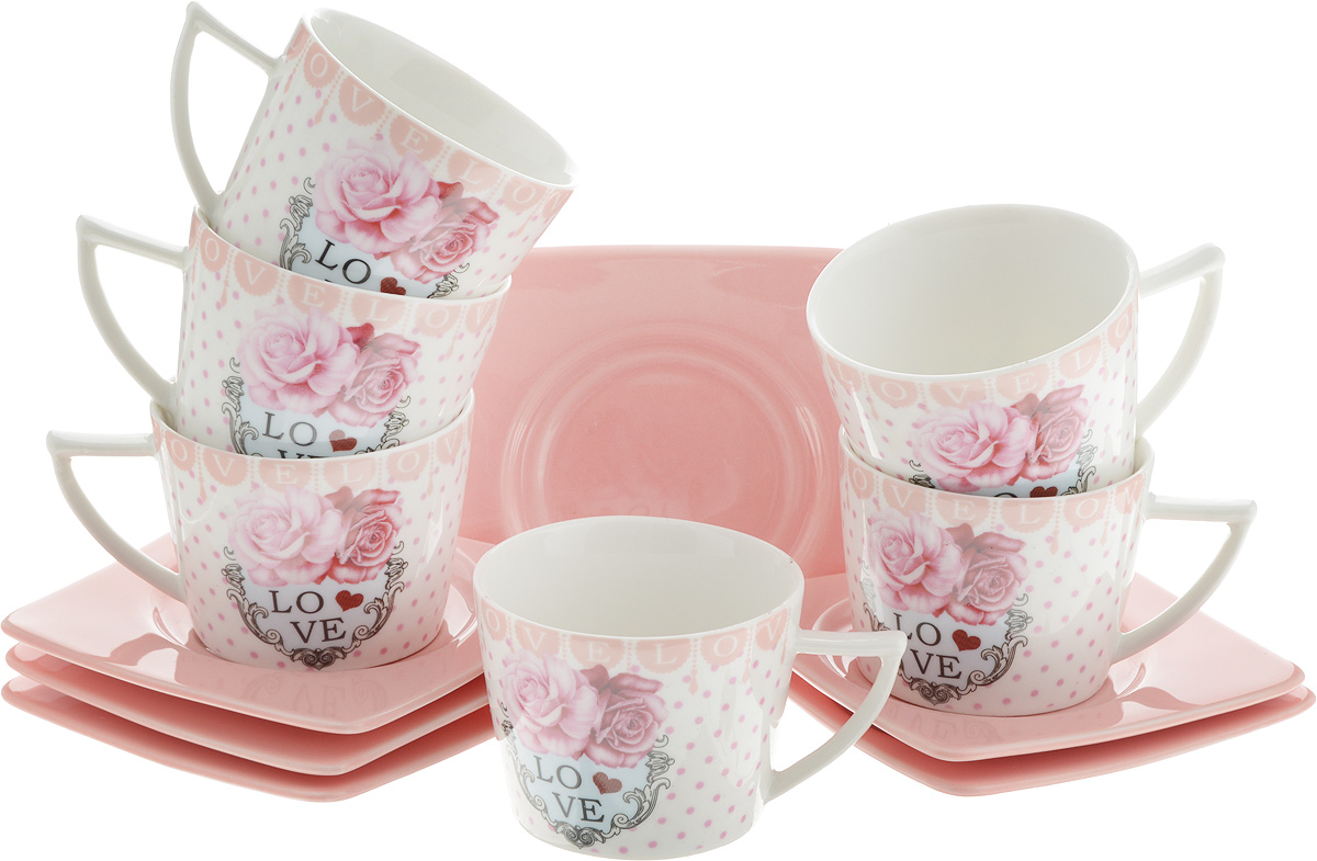 Набор кофейный Loraine Love, 12 предметов. LR-24717VT-1520(SR)Кофейный набор Loraine Love состоит из 6 чашек и 6 блюдец, выполненных из высококачественной керамики с глазурованным покрытием. Изящный дизайн придется по вкусу и ценителям классики, и тем, кто предпочитает утонченность и изысканность. Он настроит на позитивный лад и подарит хорошее настроение с самого утра. Набор упакован в стильную подарочную коробку. Внутренняя часть коробки задрапирована белой атласной тканью. Каждый предмет надежно зафиксирован внутри коробки благодаря специальным выемкам. Кофейный набор Loraine Love - идеальный и необходимый подарок для вашего дома и для ваших друзей в праздники, юбилеи и торжества! Он также станет отличным корпоративным подарком и украшением любой кухни.Диаметр чашки (по верхнему краю): 6,5 см.Высота чашки: 5 см.Объем чашки: 100 мл.Размер блюдца: 9,5 х 9,5 х 1 см.