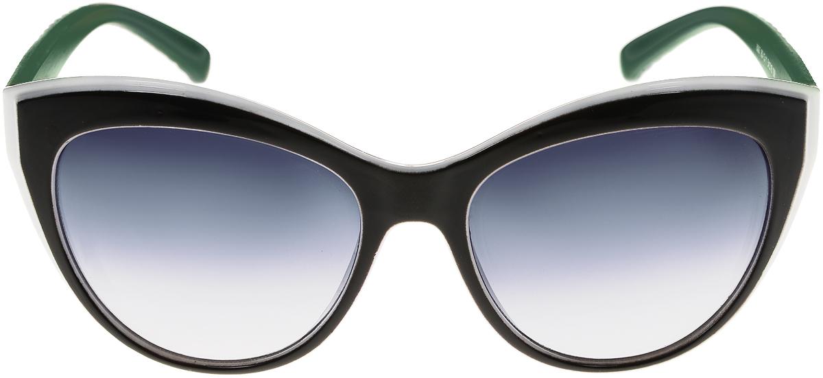 Очки солнцезащитные женские Vittorio Richi, цвет: черный, зеленый, белый. OC8067c80-13-11/17fINT-06501Солнцезащитные очки Vittorio Richi выполнены из высококачественного пластика. Пластик используемый при изготовлении линз не искажает изображение, не подвержен нагреванию и вредному воздействию солнечных лучей. Оправа очков легкая, прилегающей формы и поэтому обеспечивает максимальный комфорт. Такие очки защитят глаза от ультрафиолетовых лучей, подчеркнут вашу индивидуальность и сделают ваш образ завершенным.