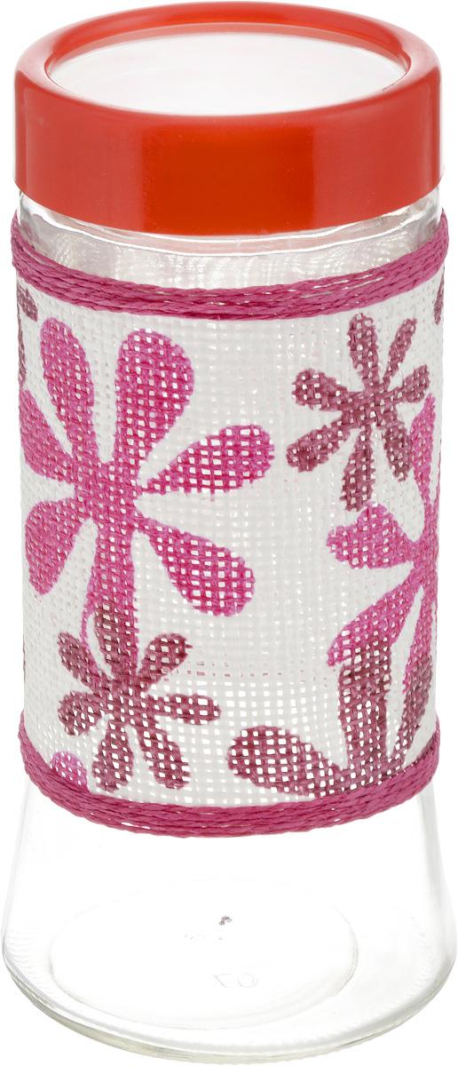 Банка для сыпучих продуктов Loraine, 1,5 л. 21615VT-1520(SR)Банка для сыпучих продуктов Loraine выполнена из высококачественного стекла и декорирована яркой цветной оплеткой с узором в форме цветов. Банка предназначена для хранения различных сыпучих продуктов: сахара, кофе, муки, соли, круп, макаронных изделий и других продуктов. Цветная пластиковая крышка плотно закрывается и препятствует проникновению влаги и посторонних запахов. Необычная и оригинально оформленная банка украсит любую кухню. Изделие не впитывает запахи и легко моется. Высота банки (без учета крышки): 23 см. Диаметр банки (по верхнему краю): 8 см.