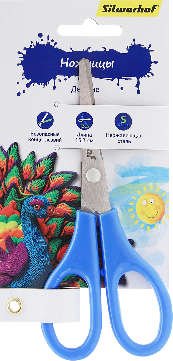 Silwerhof Ножницы детские Пластилиновая коллекция цвет голубой 13,3 смFS-54108Детские ножницы Silwerhof Пластилиновая коллекция прекрасно подойдут для детского творчества.Лезвия выполнены из высокоуглеродистой стали с закругленными концами, что делает процесс работы с ними безопасным для ребенка. Благодаря эргономичной форме пластиковых ручек, модель отлично ложится как в детскую, так и во взрослую руку.Ножницы хорошо справляются с резкой бумаги, картона и станут незаменимым помощником в процессе создания аппликаций и других поделок.Предназначены для детей от трех лет.