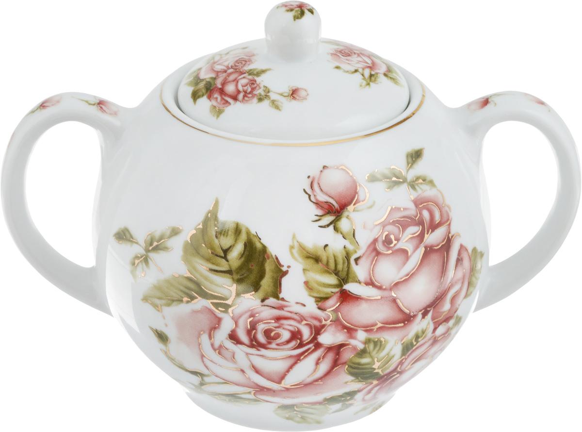 Сахарница Loraine Роза, 500 мл115610Сахарница Loraine Роза с крышкой изготовлена из высококачественной керамики с глазурованным покрытием и украшена цветочным принтом.Емкость универсальна, подойдет не только для хранения сахара, но и для меда или варенья. Диаметр сахарницы (по верхнему краю): 5 см. Высота сахарницы (без учета крышки): 8,5 см. Высота сахарницы (с учетом крышки): 11 см. Ширина сахарницы (с учетом ручек): 15 см.