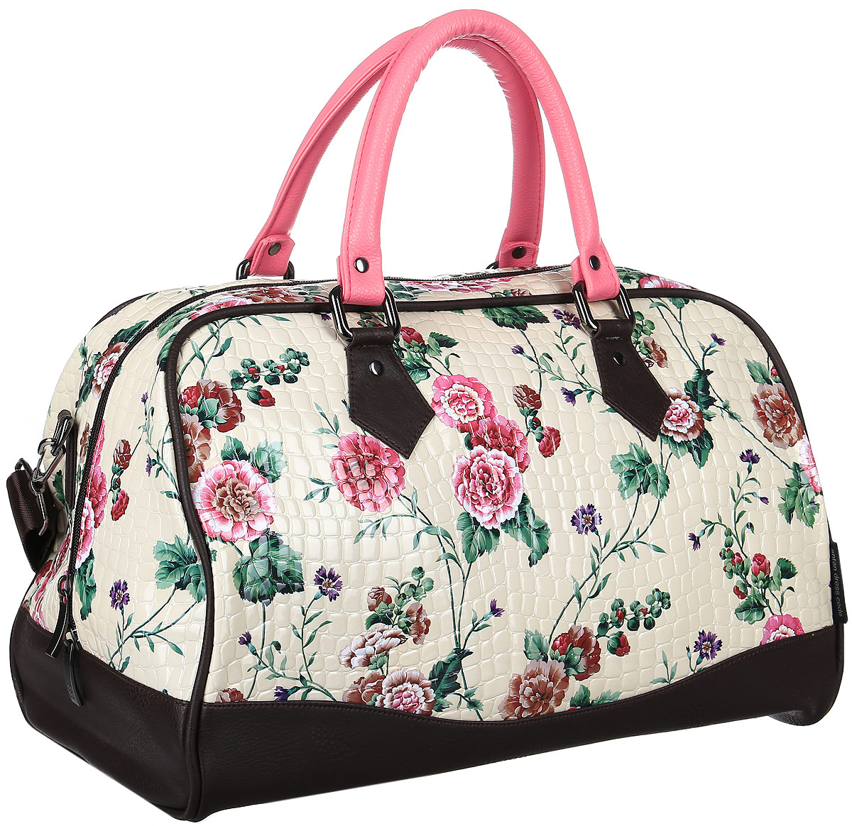 Сумка дорожная женская Аntan, цвет: бежевый, розовый. 4670018861526ГризлиЖенская сумка Аntan выполнена из экокожи. Сумка имеет одно основное отделение, закрывающееся на застежку-молнию. Внутри модель имеет карман на застежке-молнии. Изделие оснащено двумя удобными ручками и съемным плечевым ремнем. Оформлена модель цветочным принтом.