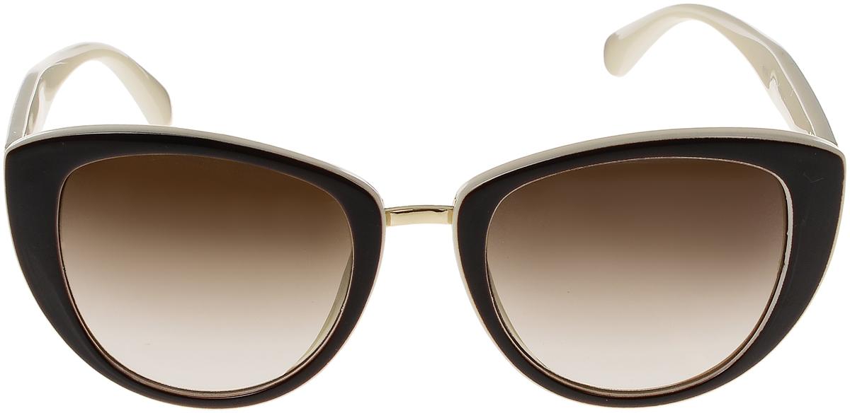 Очки солнцезащитные женские Vittorio Richi, цвет: коричневый, слоновая кость. OC8026с82-12/17fBM8434-58AEСолнцезащитные очки Vittorio Richi выполнены из высококачественного пластика и металла. Пластик используемый при изготовлении линз не искажает изображение, не подвержен нагреванию и вредному воздействию солнечных лучей. Оправа очков легкая, прилегающей формы и поэтому обеспечивает максимальный комфорт. Такие очки защитят глаза от ультрафиолетовых лучей, подчеркнут вашу индивидуальность и сделают ваш образ завершенным.