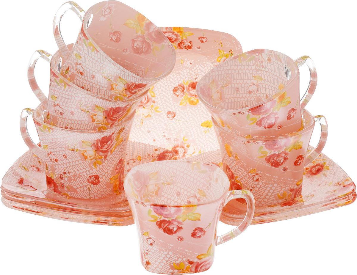 Набор чайный Loraine, цвет: красный, розовый, 12 предметов24128Чайный набор Loraine состоит из шести чашек и шести блюдец, выполненных из стекла. Изделия оформлены ярким рисунком. Изящный набор эффектно украсит стол к чаепитию и порадует вас функциональностью и ярким дизайном. Можно мыть в посудомоечной машине.Размеры чашки (по верхнему краю): 8 х 8 см.Высота чашки: 6,5 см.Объем чашки: 200 мл. Размеры блюдца: 13,2 х 13,2 см.Высота блюдца: 1,5 см.