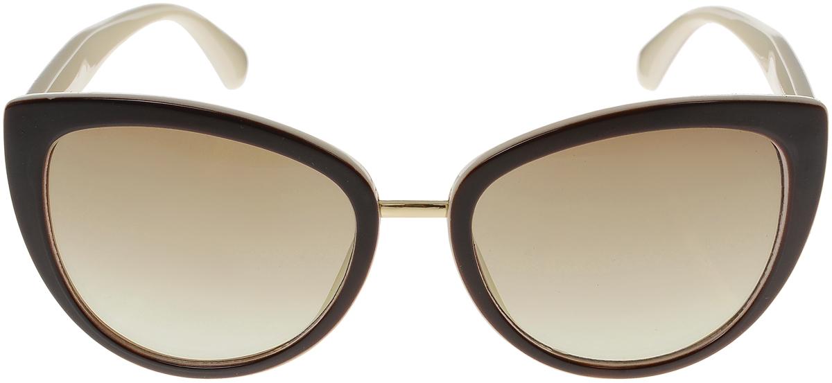 Очки солнцезащитные женские Vittorio Richi, цвет: коричневый, слоновая кость. OC8017c82-12/17fBM8434-58AEСолнцезащитные очки Vittorio Richi выполнены из высококачественного пластика и металла. Пластик используемый при изготовлении линз не искажает изображение, не подвержен нагреванию и вредному воздействию солнечных лучей. Оправа очков легкая, прилегающей формы и поэтому обеспечивает максимальный комфорт. Такие очки защитят глаза от ультрафиолетовых лучей, подчеркнут вашу индивидуальность и сделают ваш образ завершенным.