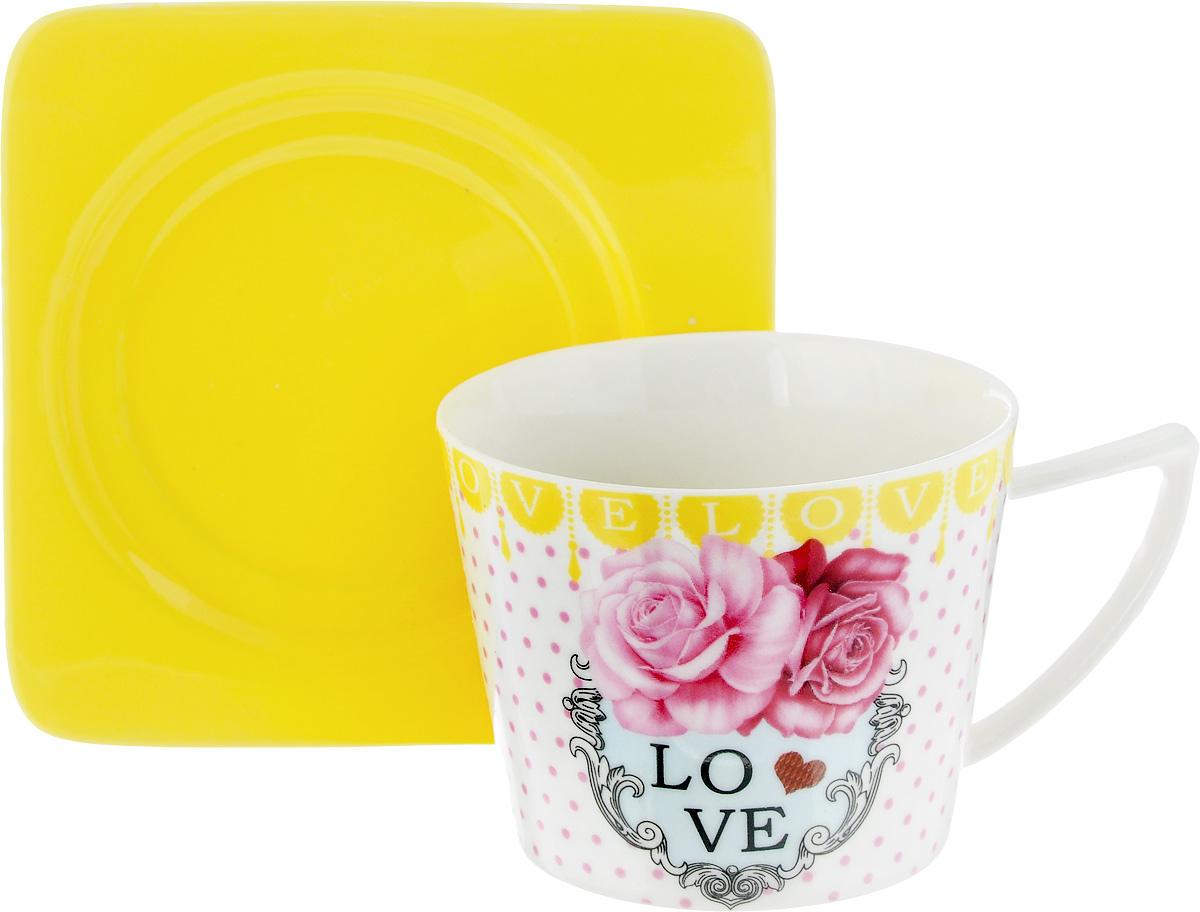 Чайная пара Loraine, цвет: белый, розовый, желтый, 2 предмета115510Чайная пара Loraine, выполненная из керамики, состоит из чашки и блюдца. Чашка оформлена ярким изображением и надписью Love. Изящный дизайн и красочность оформления придутся по вкусу и ценителям классики, и тем, кто предпочитает современный стиль.Чайный набор - идеальный и необходимый подарок для вашего дома и для ваших друзей в праздники, юбилеи и торжества! Он также станет отличным корпоративным подарком и украшением любой кухни. Чайная пара упакована в подарочную коробку из плотного цветного картона. Внутренняя часть коробки задрапирована белым атласом.Диаметр чашки: 8,5 см.Высота чашки: 6,5 см.Объем чашки: 230 мл. Размеры блюдца: 12 х 12 х 1,5 см.