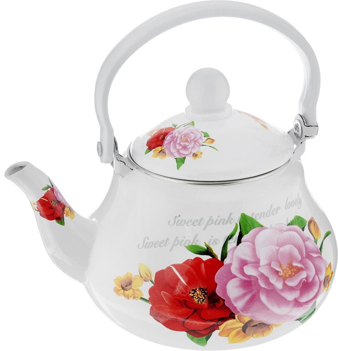 Чайник заварочный Mayer & Boch Розы, с ситечком, 1,5л115610Чайник изготовлен из высококачественной углеродистой стали с эмалированным покрытием. Такой чайник гигиеничен и устойчив к износу при длительном использовании. Изделие украшено ярким рисунком с изображением цветов. Чайник оснащен металлическим ситечком, которое не позволит чаинкам попасть в чашку, при этом сохранит букет и насыщенность чая. Чайник подходит для всех видов плит, включая индукционные. Его можно мыть в посудомоечной машине. Высота чайника (без учета ручки и крышки): 11,5 см.Высота чайника (с учетом ручки и крышки): 21 см. .Диаметр (по верхнему краю): 10 см. Диаметр индукционного диска: 9 см.Чайник подходит для использования на индукционной плите и его можно мыть в посудомоечной машине.