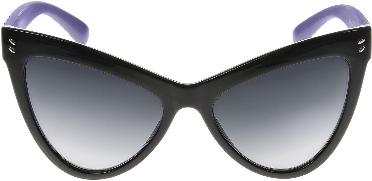 Очки солнцезащитные женские Vittorio Richi, цвет: фиолетовый, черный. ОС5063с80-10-18/17fINT-06501Солнцезащитные очки Vittorio Richi выполнены из высококачественного пластика и металла. Пластик используемый при изготовлении линз не искажает изображение, не подвержен нагреванию и вредному воздействию солнечных лучей. Оправа очков легкая, прилегающей формы и поэтому обеспечивает максимальный комфорт. Такие очки защитят глаза от ультрафиолетовых лучей, подчеркнут вашу индивидуальность и сделают ваш образ завершенным.