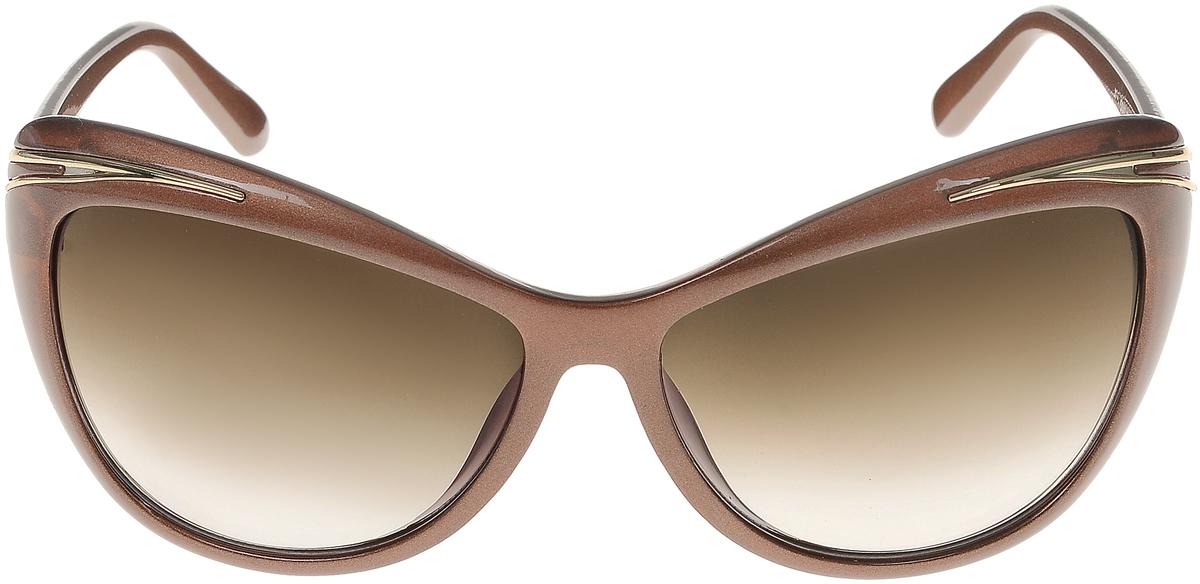 Очки солнцезащитные женские Vittorio Richi, цвет: коричневый. ОС5043с82-16/17fBM8434-58AEСолнцезащитные очки Vittorio Richi выполнены из высококачественного пластика и металла. Пластик используемый при изготовлении линз не искажает изображение, не подвержен нагреванию и вредному воздействию солнечных лучей. Оправа очков легкая, прилегающей формы и поэтому обеспечивает максимальный комфорт. Такие очки защитят глаза от ультрафиолетовых лучей, подчеркнут вашу индивидуальность и сделают ваш образ завершенным.