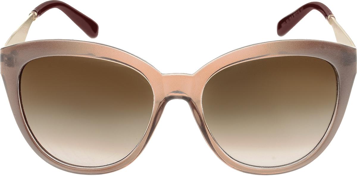 Очки солнцезащитные женские Vittorio Richi, цвет: коричневый. OC8021c82-19-9/17fBM8434-58AEЭлегантные солнцезащитные очки Vittorio Richi выполнены из высококачественного пластика и металла. Пластик используемый при изготовлении линз не искажает изображение, не подвержен нагреванию и вредному воздействию солнечных лучей. Оправа очков легкая, прилегающей формы и поэтому обеспечивает максимальный комфорт. Такие очки защитят глаза от ультрафиолетовых лучей, подчеркнут вашу индивидуальность и сделают ваш образ завершенным.