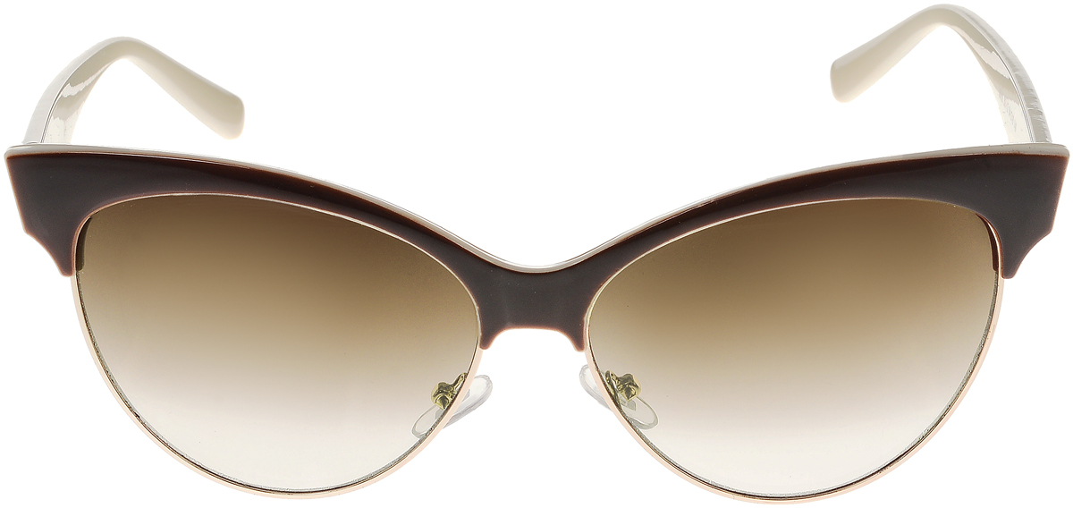 Очки солнцезащитные женские Vittorio Richi, цвет: коричневый, молочный. ОС5022с82-12/17fBM8434-58AEЭлегантные солнцезащитные очки Vittorio Richi выполнены из высококачественного пластика и металла. Пластик используемый при изготовлении линз не искажает изображение, не подвержен нагреванию и вредному воздействию солнечных лучей. Оправа очков легкая, прилегающей формы и поэтому обеспечивает максимальный комфорт. Такие очки защитят глаза от ультрафиолетовых лучей, подчеркнут вашу индивидуальность и сделают ваш образ завершенным.
