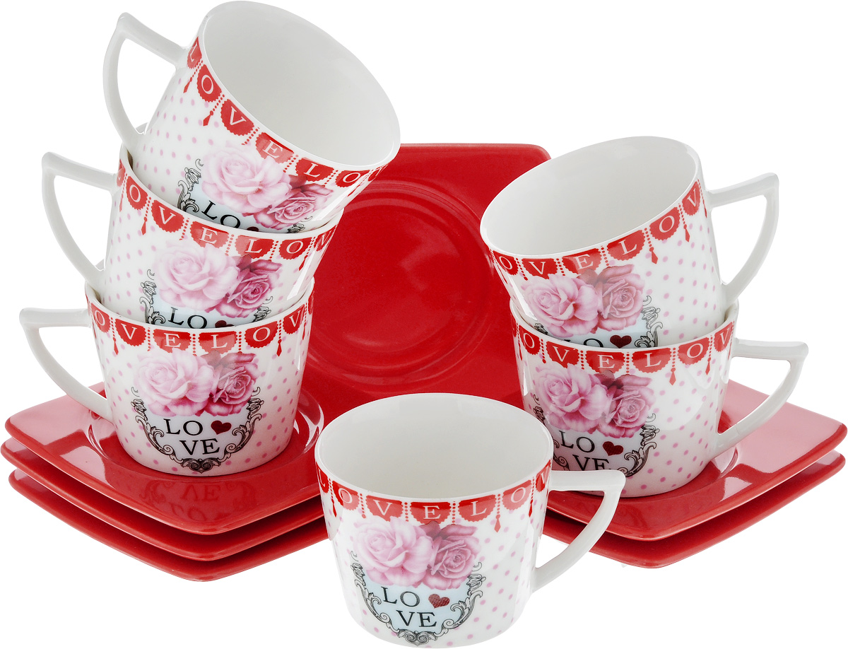 Набор кофейный Loraine, 12 предметов. 24716VT-1520(SR)Кофейный набор Loraine состоит из 6 чашек и 6 блюдец. Изделия выполнены из высококачественного фарфора и оформлены красочным рисунком. Такой набор станет прекрасным украшением стола и порадует гостей изысканным дизайном и утонченностью. Набор упакован в подарочную коробку, задрапированную внутри белой атласной тканью. Объем чашки: 100 мл. Диаметр чашки (по верхнему краю): 6,7 см. Высота чашки: 5,2 см. Размеры блюдца (по верхнему краю): 9,7 х 9,7 см. Высота блюдца: 1,5 см.